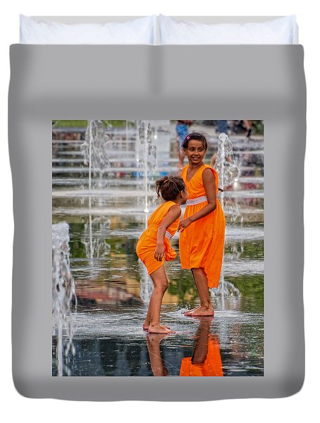 Sisters In The Waterpark Duvet Cover