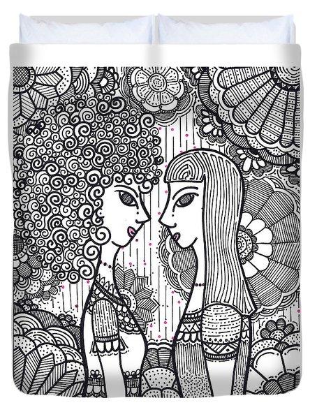 Sisters - Ink Duvet Cover