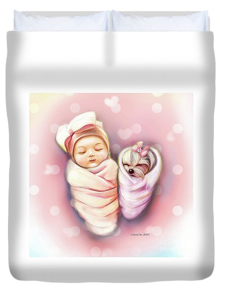 Duvet Cover featuring the painting Sisters Nap Time by Catia Lee