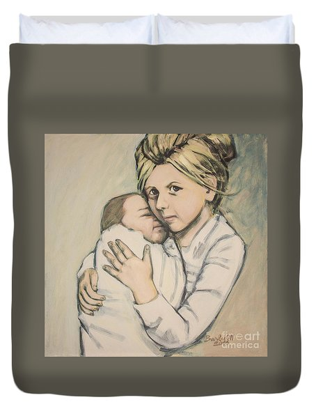 Duvet Cover featuring the painting Sisters by Olimpia - Hinamatsuri Barbu