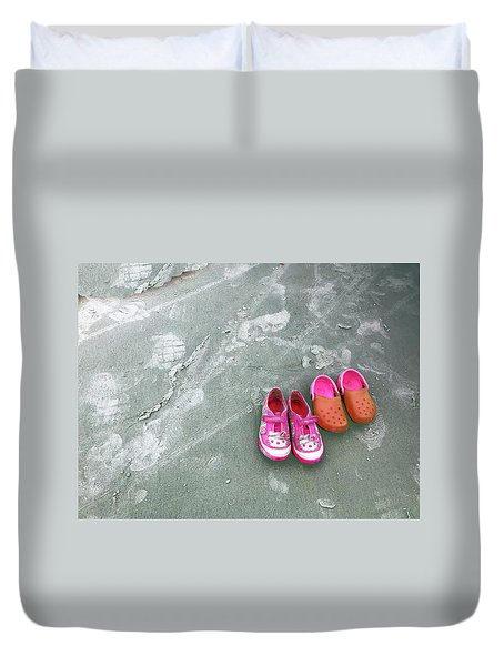 Sisters Playing Barefoot In The Sand Duvet Cover