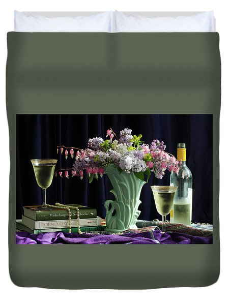 Sit, Sip And Smell, May 2017 Duvet Cover by Wendy Blomseth