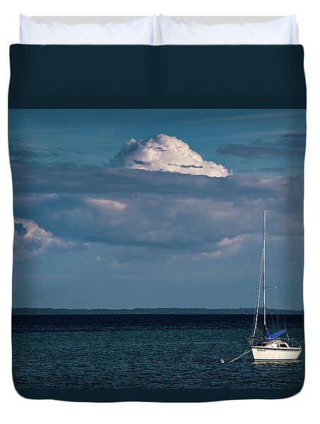 Duvet Cover featuring the photograph Sittin By The Bay by Onyonet  Photo Studios
