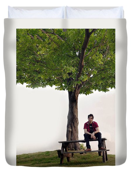 Sitting Alone Duvet Cover