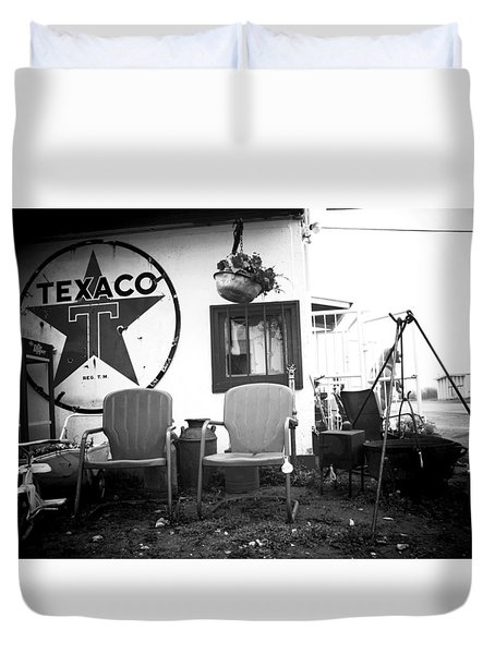 Sitting At The Texaco Black And White Duvet Cover