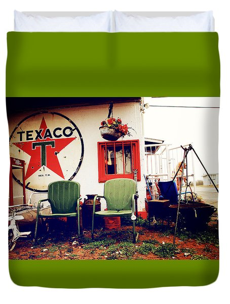 Sitting At The Texaco Duvet Cover