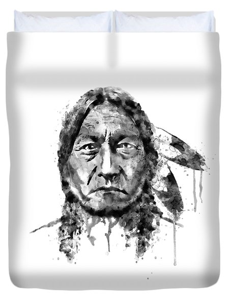 Duvet Cover featuring the mixed media Sitting Bull Black And White by Marian Voicu