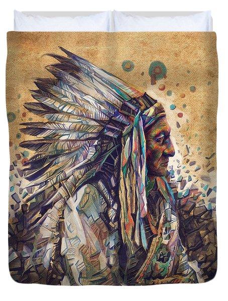 Sitting Bull Decorative Portrait 2 Duvet Cover