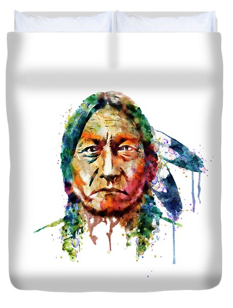 Sitting Bull Watercolor Painting Duvet Cover