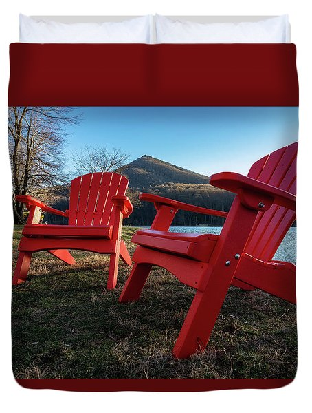 Sitting By The Lake Duvet Cover