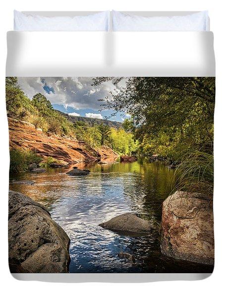 Duvet Cover featuring the photograph Sitting Creekside Oak Creek  by Saija Lehtonen