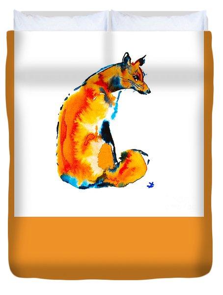 Duvet Cover featuring the painting Sitting Fox by Zaira Dzhaubaeva