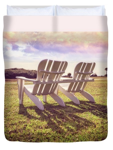 Duvet Cover featuring the photograph Sitting In The Sun by Debra and Dave Vanderlaan