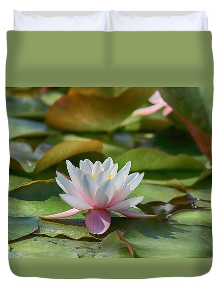 Duvet Cover featuring the photograph Sitting On A Lily Pad by Lynn Hopwood