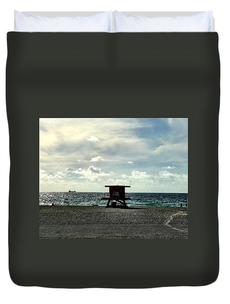 Sitting On The Beach Duvet Cover