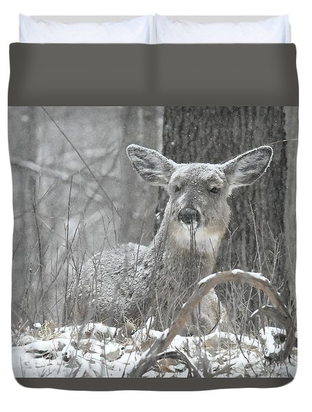 Duvet Cover featuring the photograph Sitting Out The Storm by Michael Peychich