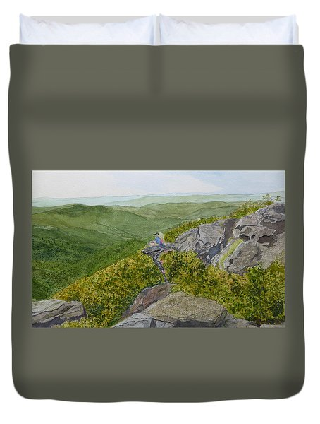 Duvet Cover featuring the painting Sitting Pretty  by Joel Deutsch