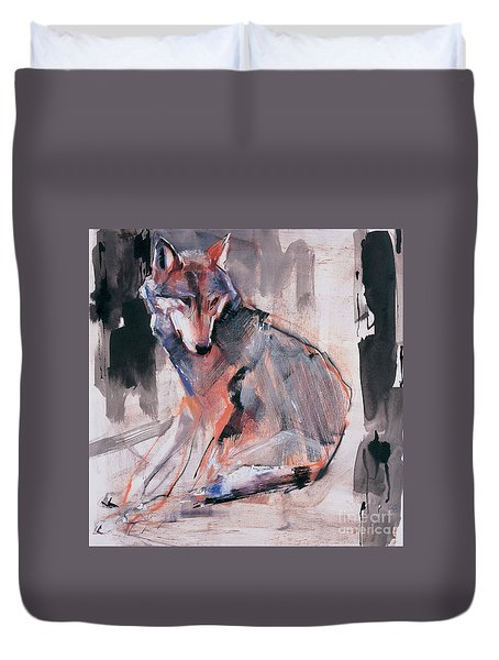 Sitting Wolf Duvet Cover
