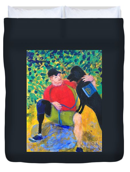 Duvet Cover featuring the painting One Team Two Heroes-4 by Donald J Ryker III