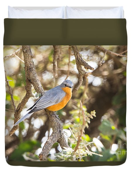 Duvet Cover featuring the photograph Siverbird In The Bush by Pravine Chester