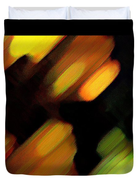 Duvet Cover featuring the painting Sivilia 6 Abstract by Donna Corless