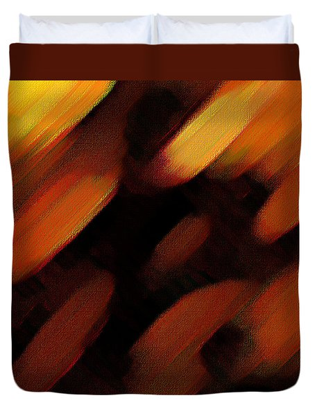 Duvet Cover featuring the painting Sivilia 7 Abstract by Donna Corless