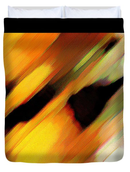 Duvet Cover featuring the painting Sivilia 8 Abstract by Donna Corless