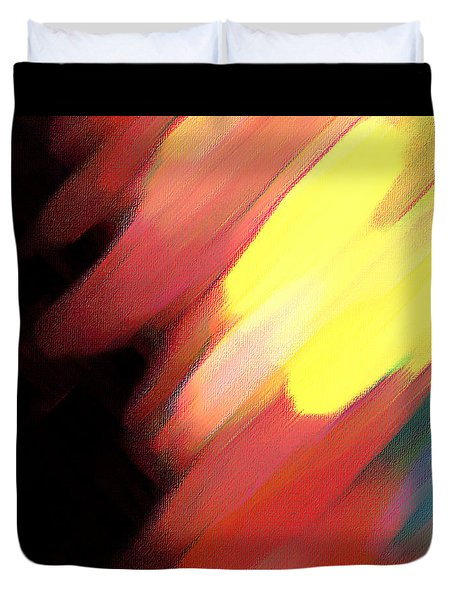 Duvet Cover featuring the painting Sivilia 9 Abstract by Donna Corless