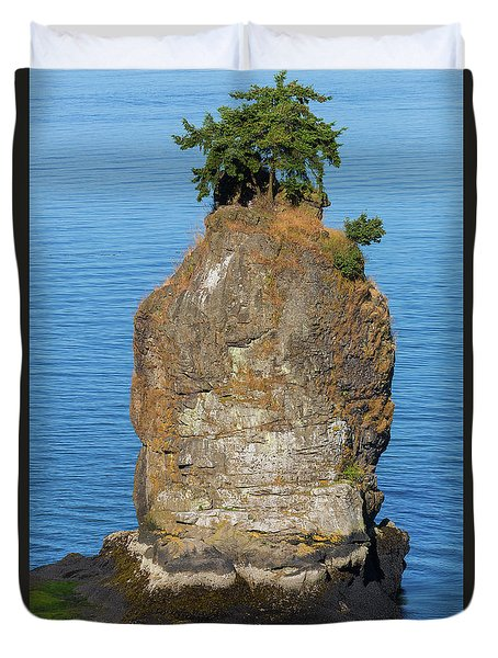 Siwash Rock By Stanley Park Duvet Cover by David Gn
