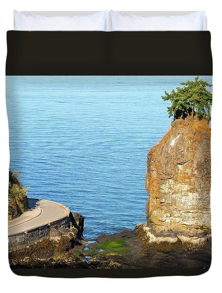 Siwash Rock By Stanley Park Seawall Duvet Cover by David Gn