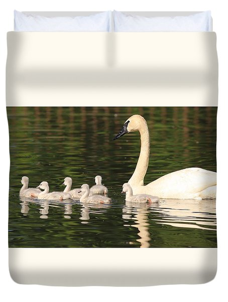Duvet Cover featuring the photograph Six Cygnets by Lynn Hopwood