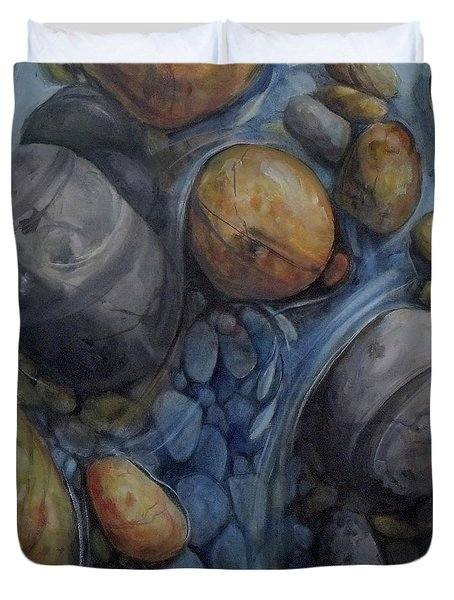 Six Fish Pond Water River Rocks  Duvet Cover