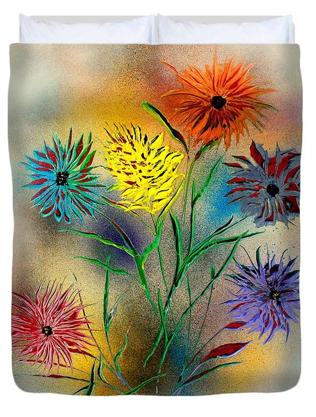 Six Flowers - E Duvet Cover