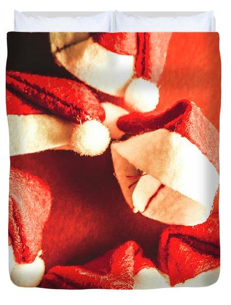 Six Santa Hats In Vintage Tone Duvet Cover