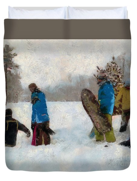 Six Sledders In The Snow Duvet Cover by Claire Bull