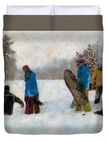Six Sledders In The Snow Duvet Cover