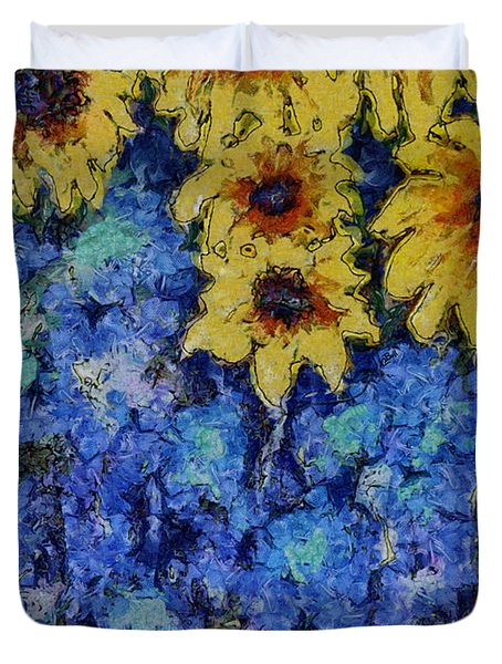 Six Sunflowers On Blue Duvet Cover by Claire Bull