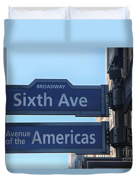 Sixth Ave And 34th Street Sign Duvet Cover