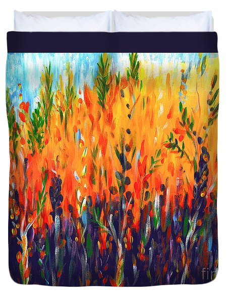 Duvet Cover featuring the painting Sizzlescape by Holly Carmichael