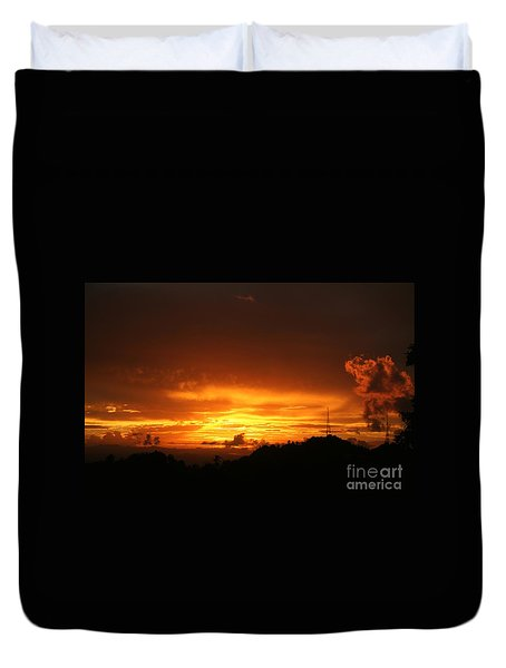 Duvet Cover featuring the photograph Sizzling Sunset by The Art of Alice Terrill