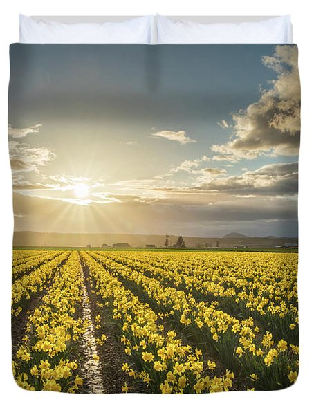 Duvet Cover featuring the photograph Skagit Daffodils Bright Sunstar Dusk by Mike Reid