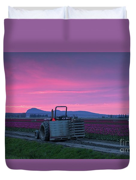 Duvet Cover featuring the photograph Skagit Valley Dusk Calm by Mike Reid