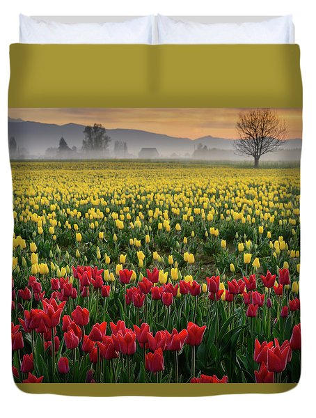 Skagit Valley Misty Morning Duvet Cover