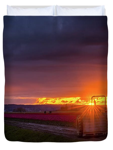 Duvet Cover featuring the photograph Skagit Valley Tractor Sunstar by Mike Reid