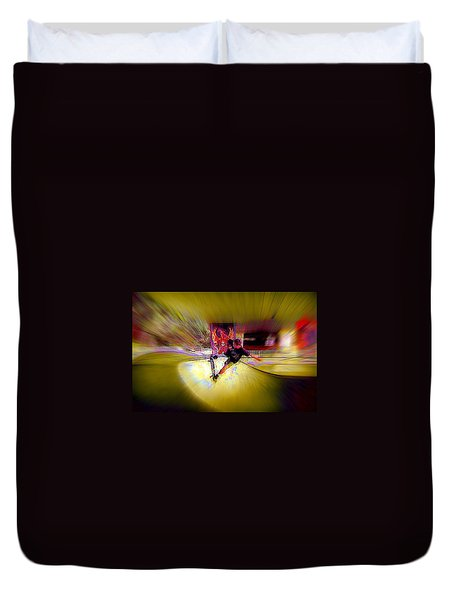 Duvet Cover featuring the photograph Skateboarding by Lori Seaman