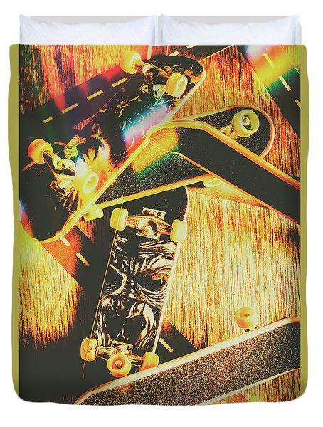 Skateboarding Tricks And Flips Duvet Cover