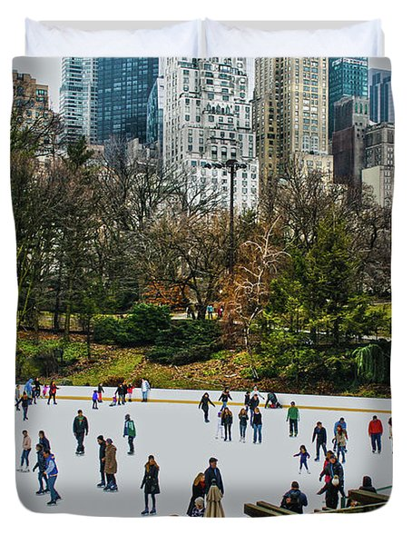 Skating At Central Park Duvet Cover by Sandy Moulder