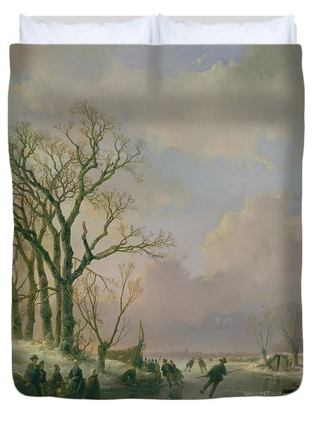 Skating In Holland Duvet Cover by Andreas Schelfhout
