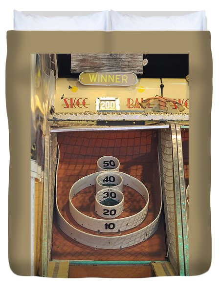 Duvet Cover featuring the photograph Skee Ball Winner by Robert Banach