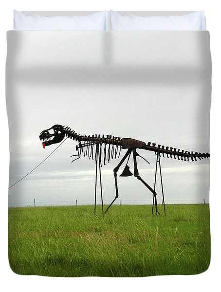Skeletal Man Walking His Dinosaur Statue Duvet Cover